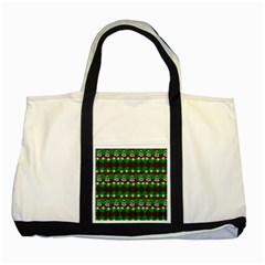 Snow Trees And Stripes Two Tone Tote Bag by bloomingvinedesign