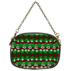 Snow Trees and Stripes Chain Purse (One Side)