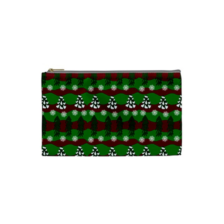 Snow Trees and Stripes Cosmetic Bag (Small)