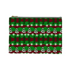 Snow Trees and Stripes Cosmetic Bag (Large)