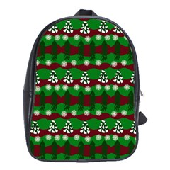 Snow Trees and Stripes School Bag (Large)