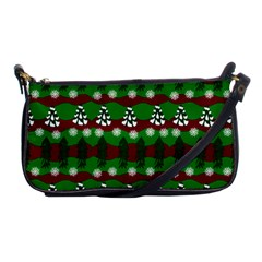 Snow Trees and Stripes Shoulder Clutch Bag