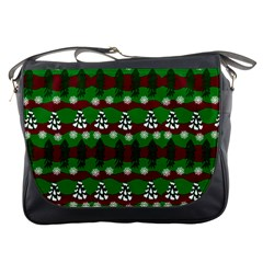 Snow Trees and Stripes Messenger Bag
