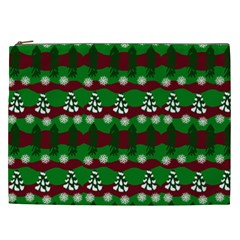 Snow Trees and Stripes Cosmetic Bag (XXL)