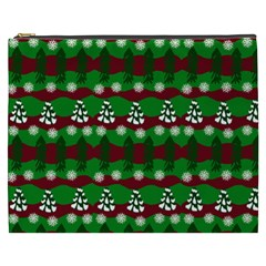 Snow Trees and Stripes Cosmetic Bag (XXXL)