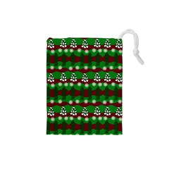 Snow Trees and Stripes Drawstring Pouch (Small)