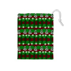 Snow Trees and Stripes Drawstring Pouch (Medium)