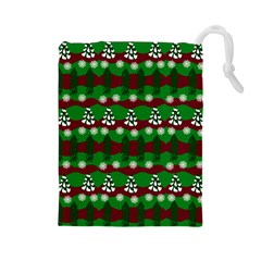 Snow Trees and Stripes Drawstring Pouch (Large)