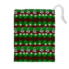 Snow Trees and Stripes Drawstring Pouch (XL)