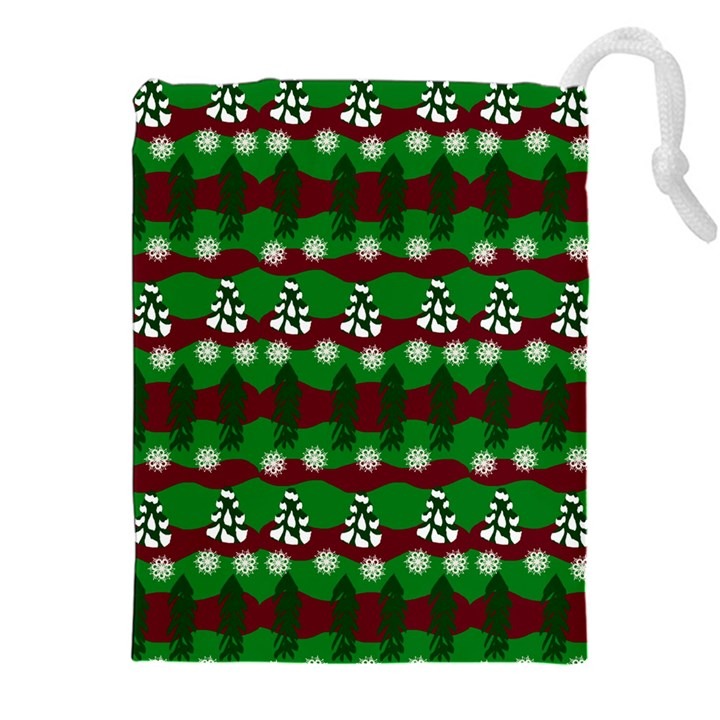 Snow Trees and Stripes Drawstring Pouch (2XL)