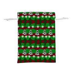 Snow Trees And Stripes Lightweight Drawstring Pouch (l)