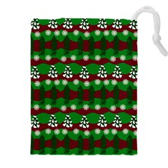 Snow Trees and Stripes Drawstring Pouch (5XL)