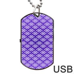 Pattern Texture Geometric Violet Dog Tag Usb Flash (one Side) by AnjaniArt