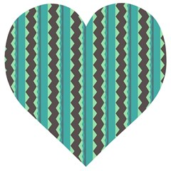 Background Chevron Blue Wooden Puzzle Heart by HermanTelo