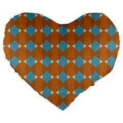 Pattern Brown Triangle Large 19  Premium Heart Shape Cushions