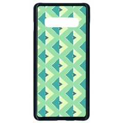 Background Chevron Green Samsung Galaxy S10 Plus Seamless Case (black)