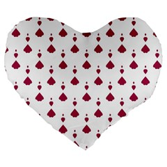 Pattern Card Large 19  Premium Flano Heart Shape Cushions