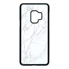 White Marble Texture Floor Background With Gold Veins Intrusions Greek Marble Print Luxuous Real Marble Samsung Galaxy S9 Seamless Case(black) by genx