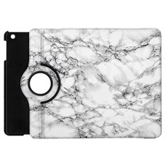 White Marble Texture Floor Background With Black Veins Texture Greek Marble Print Luxuous Real Marble Apple Ipad Mini Flip 360 Case by genx