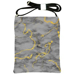 Marble Neon Retro Light Gray With Gold Yellow Veins Texture Floor Background Retro Neon 80s Style Neon Colors Print Luxuous Real Marble Shoulder Sling Bag by genx
