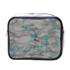 Marble Light Gray With Bright Cyan Blue Veins Texture Floor Background Retro Neon 80s Style Neon Colors Print Luxuous Real Marble Mini Toiletries Bag (one Side) by genx