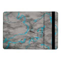 Marble Light Gray With Bright Cyan Blue Veins Texture Floor Background Retro Neon 80s Style Neon Colors Print Luxuous Real Marble Samsung Galaxy Tab Pro 10 1  Flip Case by genx
