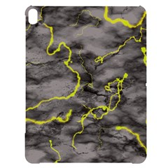 Marble Light Gray With Green Lime Veins Texture Floor Background Retro Neon 80s Style Neon Colors Print Luxuous Real Marble Apple Ipad Pro 12 9   Black Uv Print Case