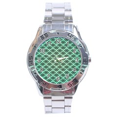 Pattern Texture Geometric Pattern Green Stainless Steel Analogue Watch