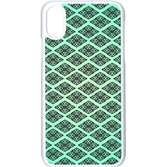 Pattern Texture Geometric Pattern Green Iphone Xs Seamless Case (white)