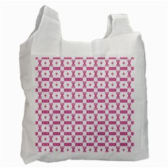 Cute Pattern Pink Background Design Recycle Bag (one Side)