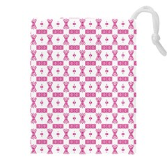 Cute Pattern Pink Background Design Drawstring Pouch (3xl) by AnjaniArt