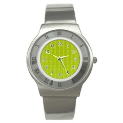 Background Texture Pattern Green Stainless Steel Watch