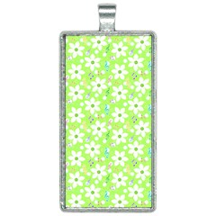 Zephyranthes Candida White Flowers Rectangle Necklace