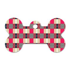 Background Texture Plaid Red Dog Tag Bone (one Side) by HermanTelo
