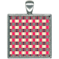 Background Texture Plaid Red Square Necklace by HermanTelo