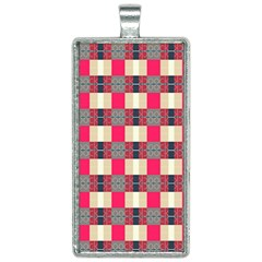 Background Texture Plaid Red Rectangle Necklace by HermanTelo