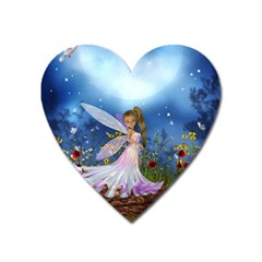 Little Fairy In The Night Heart Magnet by FantasyWorld7