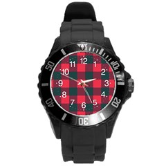 Canadian Lumberjack Red And Black Plaid Canada Round Plastic Sport Watch (l) by snek