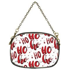 Christmas Watercolor Hohoho Red Handdrawn Holiday Organic And Naive Pattern Chain Purse (two Sides) by genx