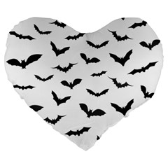 Bats Pattern Large 19  Premium Flano Heart Shape Cushions by Sobalvarro