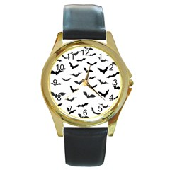 Bats Pattern Round Gold Metal Watch by Sobalvarro