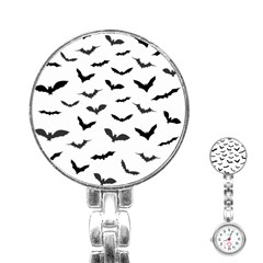 Bats Pattern Stainless Steel Nurses Watch by Sobalvarro