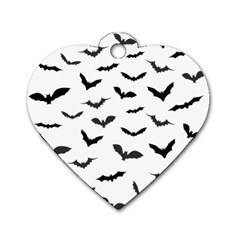 Bats Pattern Dog Tag Heart (two Sides) by Sobalvarro