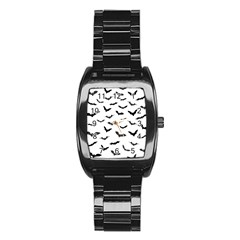 Bats Pattern Stainless Steel Barrel Watch