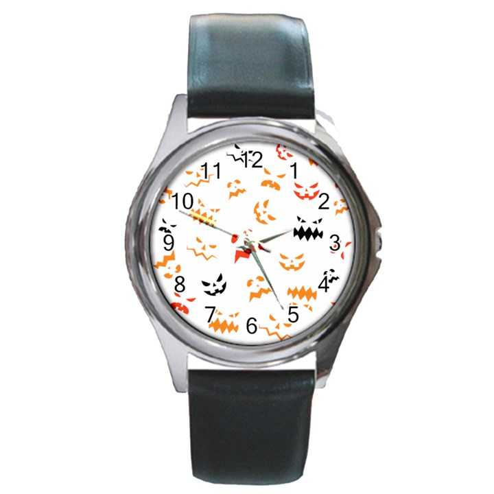 Pumpkin Faces Pattern Round Metal Watch