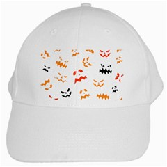 Pumpkin Faces Pattern White Cap by Sobalvarro