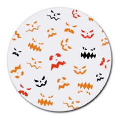 Pumpkin Faces Pattern Round Mousepads by Sobalvarro