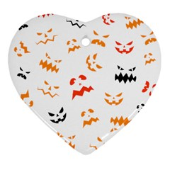 Pumpkin Faces Pattern Ornament (heart) by Sobalvarro