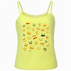 Pumpkin Faces Pattern Yellow Spaghetti Tank by Sobalvarro