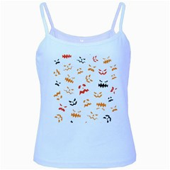 Pumpkin Faces Pattern Baby Blue Spaghetti Tank by Sobalvarro